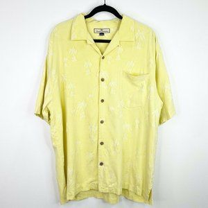 Tommy Bahama Silk Palm Tree Button Front Shirt L
